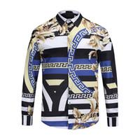 Wholesale Print Dress Baroque - 2018 Brand New luxury designers Medusa Baroque printed Dress shirts Slim Fit cotton shirts for men black print casual Business tops 2XL