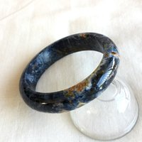 синие браслеты оптовых-Высокое Качество Натуральный Темно-Синий Питерсайт Намибия Браслеты Браслеты 59 мм 2.33 дюймов 05210