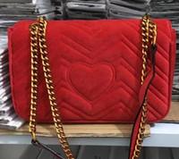 kadife debriyajlar toptan satış-Tasarımcı Yüksek kalite kadife kalp kadın altın zincir deri kayış flap çanta messenger çanta bayan omuz çantaları debriyaj 26x18x7 cm
