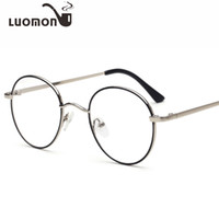 Wholesale round glasses for computer online - LUOMON Retro Round Computer Glasses Frames Flat Eyeglasses New Metal Glass Frame Student Spectacle Frame For Men Lady