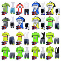 Wholesale jersey cycling saxo green - SAXO BANK TINKOFF Summer team Cycling Short Sleeves jersey bib shorts sets D gel pad bicycle jersey Breathable Quick dry i