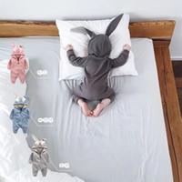 детские комбинезоны оптовых-Новорожденный ребенок комбинезон уши кролика младенцев Onesies одежда молния с капюшоном малыша ползунки младенческой боди комбинезоны спальный мешок