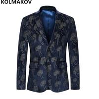 yeni tasarım erkek blazer toptan satış-2018 Yeni Üst Tasarlanmış Erkek Blazers Pamuk Erkek Blazer Erkek coats Lüks Balo İş Erkekler için Mavi Ceket Büyük boy M-6XL Suits