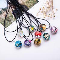 personalisierte glasanhänger halskette großhandel-Heißer Glasschmuck Eevee Pokeball Halskette Ball Anhänger Personalisierte Bild Halsketten