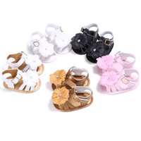 Wholesale Green Flower Girl Shoes - Fashion cute infant girls shoes beautiful summer girl baby sandals newborn flower girl baby princess shoes leather sandals