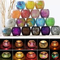 şamdanlık feneri toptan satış-Kristal Mozaik Cam Mumluk Şamdan Centerpieces Sevgililer Günü Düğün Dekorasyon Için Mum Fener Değil Mum WX9-319