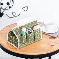 boîte à tissu achat en gros de-Livraison Gratuite 6 Pochettes En Coton Boîte De Mouchoirs Multifonctionnel De Bureau De Pompage Serviette De Papier Porte-Serviette Étanche En Papier Serviette Sac De Rangement