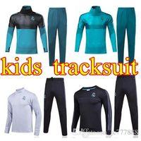Wholesale youth boys jackets - 2017 2018 2019 Real Madrid kids Football jacket chandal tracksuit 17 18 RONALDO ASENSIO de foot ISCO youth jacket pants Training suit