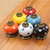 Wholesale Bulk Colors Ceramic Pumpking Door Pull Drawer Handles Furniture Antique Shell Knob Tiradores De Cajón Home Decor Kitchen Accessories