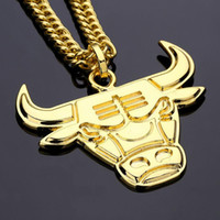 Wholesale Cow Plates - 2018 Punk Style Cow Head Pendant Necklace Gold Color Ngau Tau Alloy Bulls Long Metal Chain For Men Boy Fashion Hip Hop Jewelry