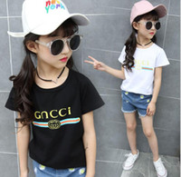 Wholesale Korean Fashion Shirts - high-quality new GNCC children clothing girls T-shirt large children in Korean short-sleeved girls letters round neck T-shirt