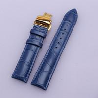 lederband schmetterling schnalle großhandel-Armband-Zubehör-Alligator Korn-echtes Leder Blaues Uhrenarmband 14mm 16mm 18mm 20mm 22mm Schmetterlingswölbung neu