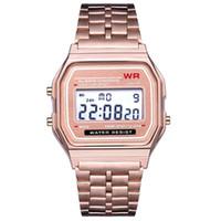 ingrosso orologi da polso in metallo-Orologio da polso digitale da polso in metallo impermeabile da uomo di moda da uomo Orologio cronometro LED elegante Orologio Reloj Digital Hombre Mujer