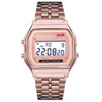 30ca89e0da8 Relógios de Pulso Digital das Mulheres dos homens de moda À Prova D  Água  Alça de Metal Alarme Cronômetro LEVOU Relógio À Moda Reloj Digital Hombre  Mujer