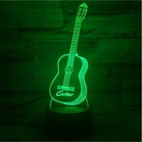 lâmpada led usb 5v venda por atacado-3D night light guitar led luzes para sala de estar atacado USB LED 5 V lâmpada do quarto interruptor de toque RGB