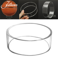 Wholesale jewelry ring stand clear - New Acrylic Sphere Ball Stand Clear Sphere Display Shelf Holder Showcase For Basketball Football Soccer Rugby 10*3cm 2018
