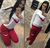 Wholesale women costume clothes online - 2018 Women Sport Suits Printed Fall Tracksuits Long sleeve Casual Sportwear Costumes Piece clothing set Hoodies Sweatshirt