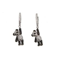 Wholesale dogs earring resale online - 2018 girl gift jewelry lovely cute animal charm dangle earring micro pave cz black white dog bear charm adorable earrings