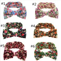 Wholesale Rabbit Colors - 2017 Europe and the United States selling flowers big bow knot rabbit ears headband baby hair with headdress 6 colors
