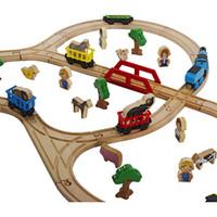 ingrosso giocattoli di legno di alta qualità-50 pz / lotto di alta qualità in legno di faggio fai da te educativo in legno thomas treno ferroviario slot machine giocattoli per il bambino