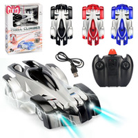 Hot selling 1PC Remote Control Wall Climbing 4CH RC Car with LED Lights 360 Degree Rotating Stunt Toys Antigravity Machine Wall Racer Funny kids Toys