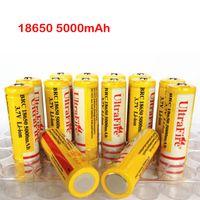wiederaufladbare lithium-ionen aa großhandel-Ultrafeuer 18650 3.7V 5000mAH Lithium-Akku Gelb, UltraFire BRC 18650 Li-Ion-Akkus Mit Ladegerät