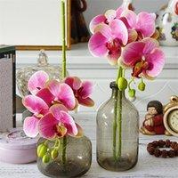künstliche orchideen blüht köpfe großhandel-PU Motte Orchideen Phalaenopsis Orchidee Real Touch fünf Köpfe Mini Orchidee Blume 70 cm Dekorative Künstliche Blumen