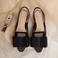 fliege flache sandalen großhandel-Slingback Mesh Sandalen Frauen Flache Ferse Markendesigner Große Fliege Sommer Sandalen