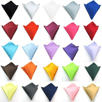 pañuelo azul al por mayor-Traje de desgaste formal Pocket Square Hombre Toalla pequeña para la cara Vestido completo Bufanda en el pecho Pañuelo Negro Color puro Rojo Azul 1 2ys bb