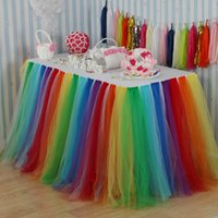 table decorations for wedding shower Australia - Rainbow Tutu Tulle Table Skirt for Wedding Birthday Baby Shower Slumber Party Girl Princess Home Decoration Supplies Colorful 80cm Height