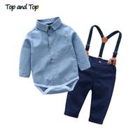 bebek beyefendi kıyafeti toptan satış-Üst ve Üst Yürüyor Bebek Boys Gentleman Giyim Setleri Uzun Kollu Romper + Jartiyer Pantolon 2 Adet Düğün Parti rahat Kıyafetler
