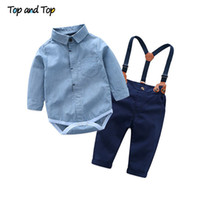 ropa de caballero de niños pequeños al por mayor-Top y Top Toddler Baby Boys Gentleman Clothes Sets Mameluco de manga larga + Tirantes Pantalones 2Pcs Wedding Party Casual Outfits