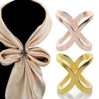 ingrosso sciarpe multiuso-Fibbia di scialle di seta croce svasato multi-purpose placcatura all'ingrosso di alta qualità, sciarpa a forma di scialle sciarpa a forma di X