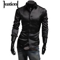 Wholesale Mens Silk Shirts Long Sleeve - Huation Mens Silk Shirt 2017 Fashion Brand Men's Long Sleeve Shirt Men camisa social masculina Casual Black Men Dress Shirts