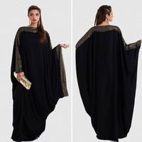 mujeres musulmanas negras al por mayor-Más el tamaño S ~ 6XL calidad nuevo árabe elegante suelto abaya kaftan islámico moda vestido musulmán ropa de diseño mujeres dubai abaya negro