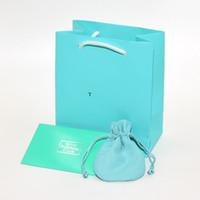 pequeña pulsera de embalaje al por mayor-Envío gratis Joyería de moda de Lujo Bolsas de Embalaje Azul bolsas conjunto de tela de pulido de Plata Collar Pulsera pequeña bolsa de regalo