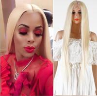 longo cabelo loiro perucas venda por atacado-QD RapunzelHair cabelo virgem brasileiro parte do meio parte livre # 613 Longo Platina loira cabelo humano peruca cheia do laço