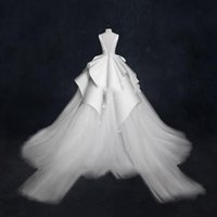 Wholesale wedding dress garden lace up for sale - Gorgeous Ball Gown Wedding Dresses With Sheer Neckline Tiered Peplum Tulle Satin Bridal Dress long Train Beach Wedding Gowns Sexy Back