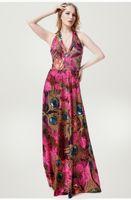Wholesale spandex womens plus clothing online - 2018 Summer Printing Maxi Dresses Womens Beach Club Casual Loose Sleeveless V Neck Long dresses Plus Size Fashion Boho Clothes XL