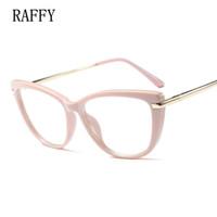 quadros de óculos brancos venda por atacado-RAFFY Cat Eye Mulheres Óculos de Armação Completa Óculos Vintage Óculos Mulheres Óculos Óculos Brancos Molduras Pretas Perna De Metal Oculos