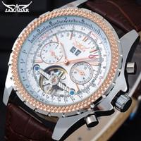 viejos relojes mecanicos al por mayor-JARAGAR Hombres Relojes mecánicos Relojes de pulsera automáticos de cuero para hombres Jaragar Relojes de pulsera antiguos para hombres con fecha automática