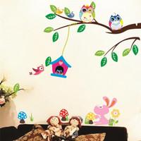 kinder spielen kunst zu hause großhandel-Tiere Wand Aufkleber Kinder spielen Zimmer Dekorationen Eulen Adesivos de Paredes Home Abziehbilder Kinderzimmer Wandbild Kunst Geburtstagsgeschenk