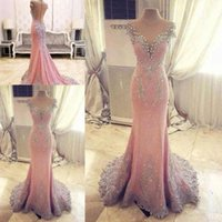 Wholesale maternity formal dresses online - New Sexy Pink Mermaid Evening Dresses Jewel Neck Capped Sleeves Lace Appliques Beaded Illusion Back With Button Formal Evening Gowns