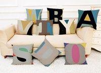 inserção 18 travesseiro venda por atacado-Almofada de Linho Inglês Alfabeto Cobre Home Office Sofá Quadrado Fronha Decorativa Travesseiro Cobre Sem Inserir (18 * 18 Polegadas)
