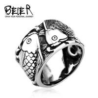 tiere chinesischen ring großhandel-Retro Geprägte Fisch Ring Chinesischen Stil Mode Männer Frauen Persönlichkeit TITAN Stahl Tier Schmuck BR8-257 UNS Größe