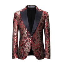 Wholesale Marriage Suits - YFFUSHI Latest Design Men Suit Jacket Fashion Printing Blue Red Jacket Homme Marriage Masculino Best Men's Blazer Plus 6XL