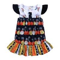 cadılar bayramı bebek kızları elbiseleri toptan satış-Bebek Kız Cadılar Bayramı Elbiseler Kabak Çizgili Patchwork Yelkenli Baskılı Fırfır Fırfır Uçan Kolsuz Diz boyu Tasarımcı Giysileri 9 M-4 T