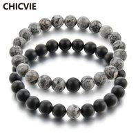 piedra gris al por mayor-CHICVIE gris y negro distancia encantos pulsera brazaletes para hombres mujeres amantes clásico piedra natural cuentas brazaletes SBR170134