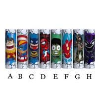 envoltório superman venda por atacado-Mais novo super-herói hulk batman superman flash 18650 20700 21700 bateria pvc adesivo de pele envoltório wrapper capa manga calor psiquiatra envoltório vape dhl