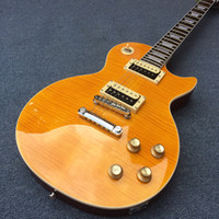 explosión de caoba al por mayor-Guitarra eléctrica Honey Burst con tapa de arce flameado, guitarra de caoba sólida, pastillas de cebra Guitar180504-2879